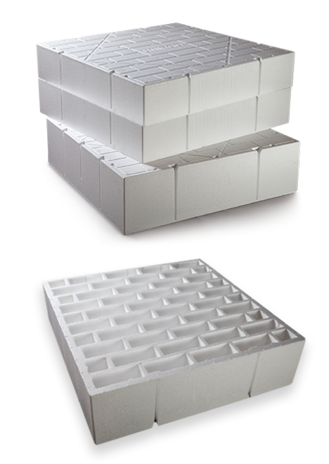 Waffle pods stacked with under side brick pattern design